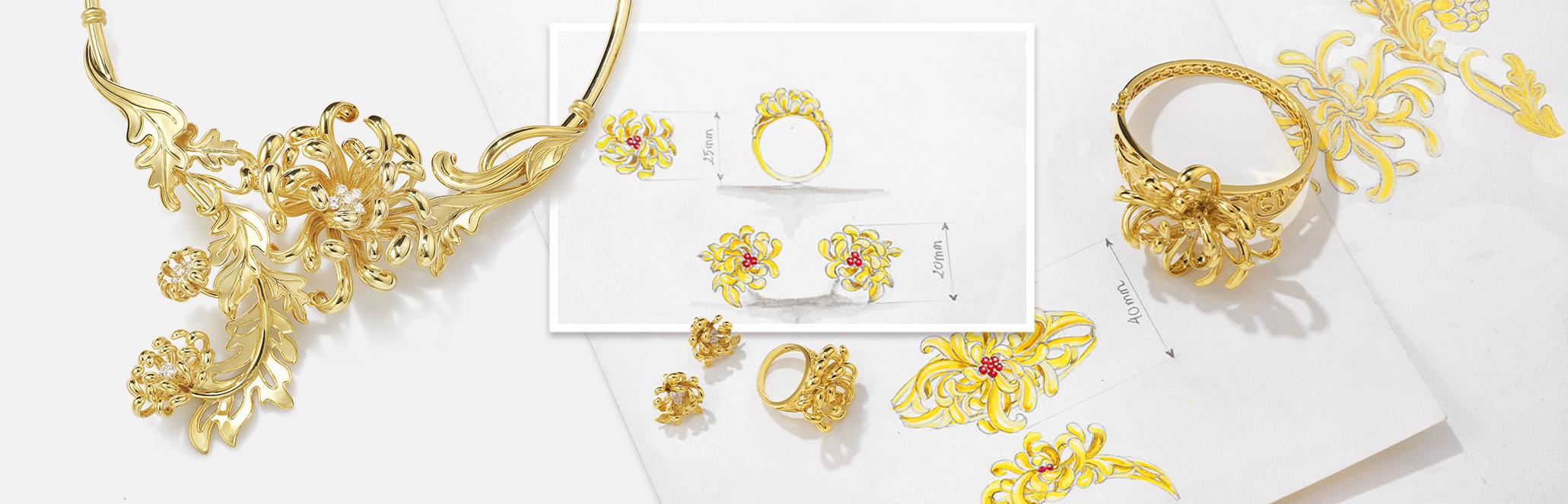 Bộ sưu tập Cúc Viên Mãn, đính kim cương, vàng 18K