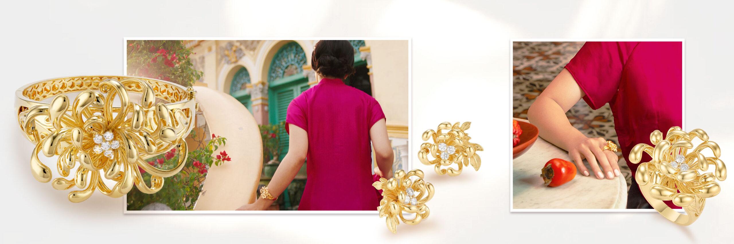 Vòng tay, bông tai BST Cúc Viên Mãn, vàng 18K