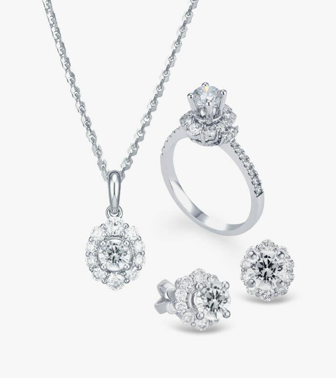Bộ trang sức Kim cương Vàng trắng DXDB242