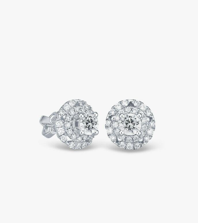 Bông tai Kim cương Vàng trắng DXB421HK-1