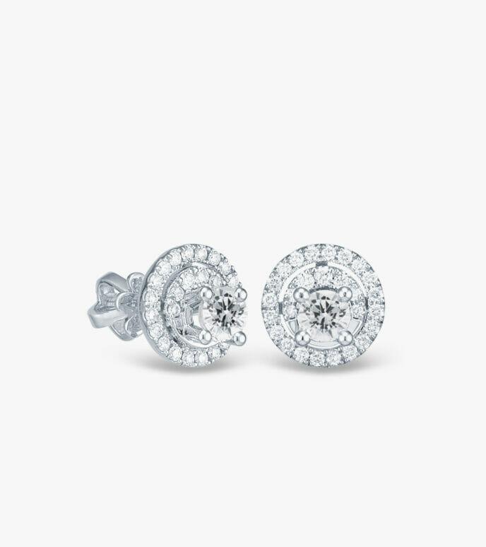 Bông tai Kim cương Vàng trắng DXB48-1