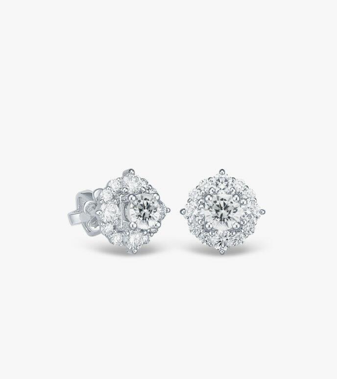 Bông tai Kim cương Vàng trắng DXB614-1