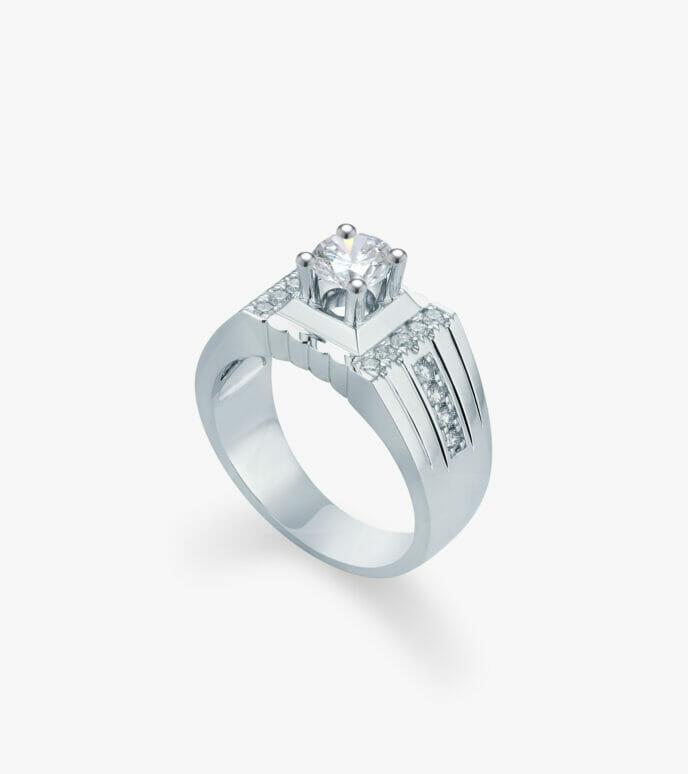 Nhẫn nam Kim cương Vàng trắng DXN339