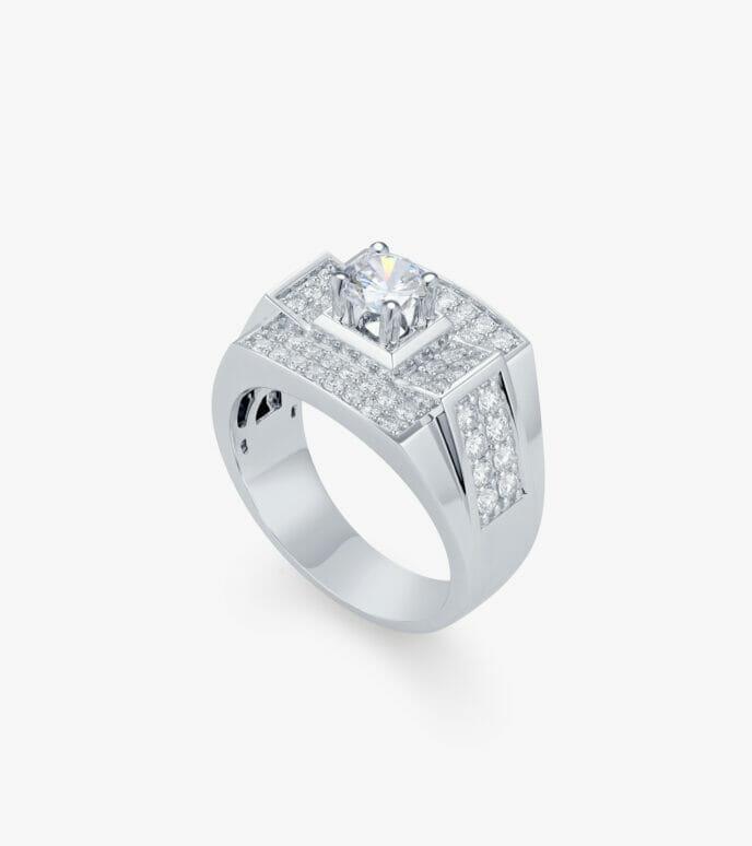 Nhẫn nam Kim cương Vàng trắng DXN723