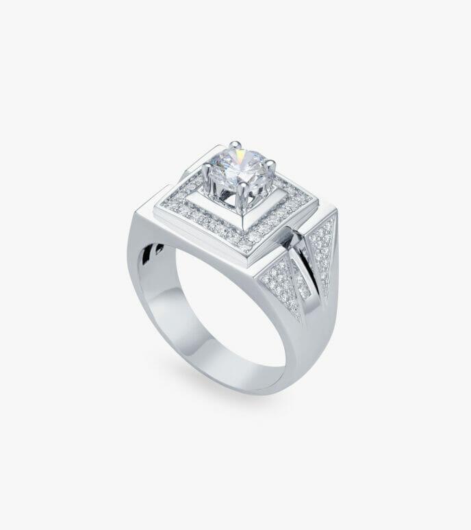 Nhẫn nam Kim cương Vàng trắng DXN724