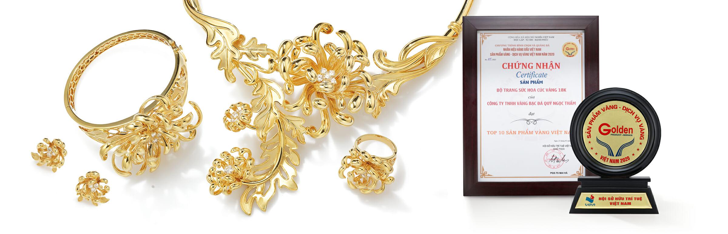 Bộ sưu tập Cúc Viên Mãn Vàng 18K, Top 10 sản phẩm vàng Việt Nam