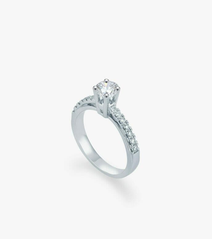 Nhẫn nữ Kim cương Vàng trắng DXN216